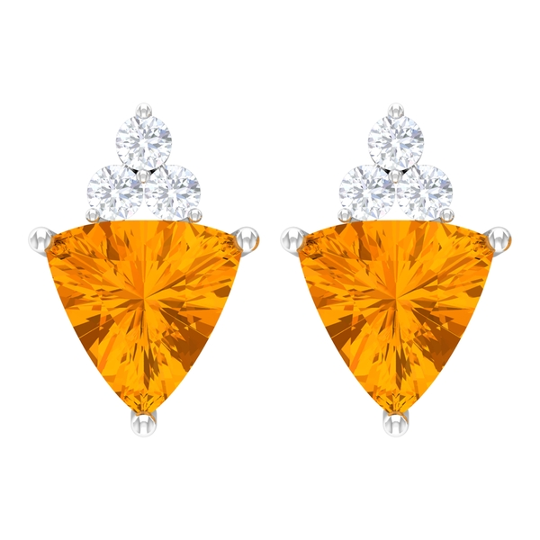 2.25 CT Trilliant Cut Created Orange Sapphire Solitaire Cocktail Stud Earrings for Women with Diamond Accent
