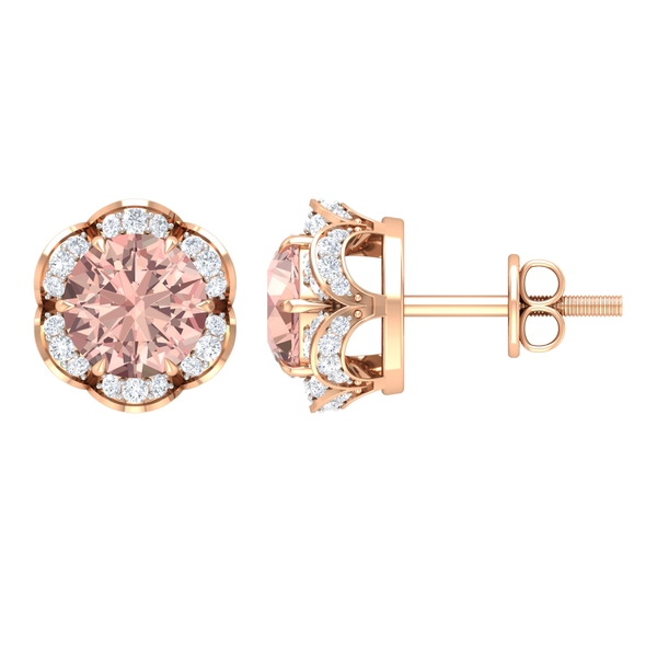 1.25 CT Claw Set Morganite and Diamond Floral Stud Earrings