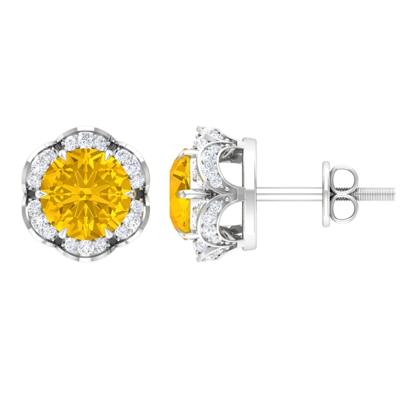 2 CT Claw Set Yellow Sapphire and Diamond Floral Halo Earrings