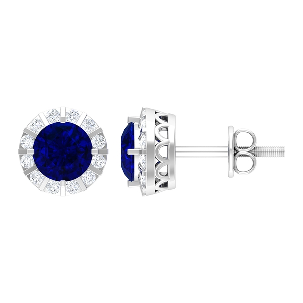 1.50 CT Vintage Blue Sapphire and Moissanite Stud Earrings