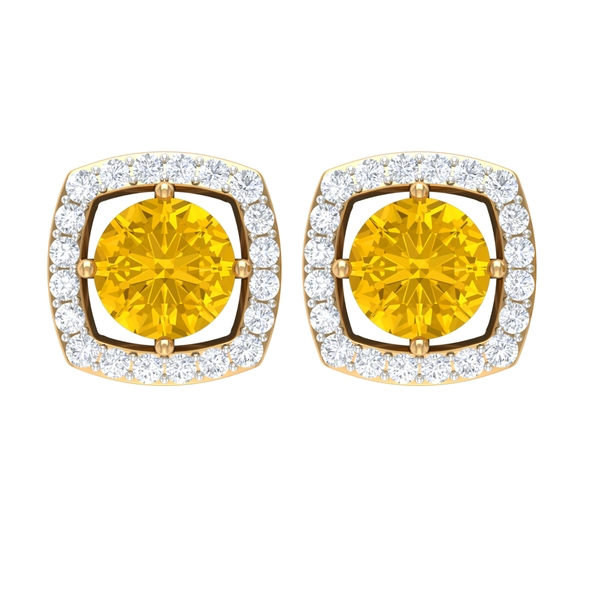 1.50 CT Elegant Yellow Sapphire Solitaire and Moissanite Halo Stud Earrings in 4 Prong Diagonal Setting