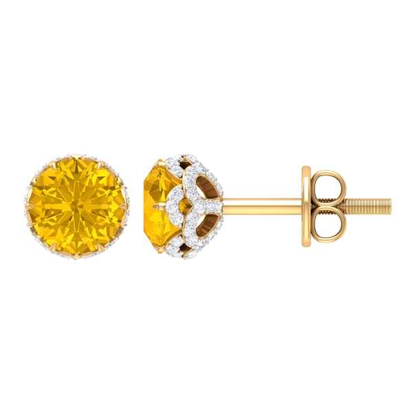 5X5 MM Yellow Sapphire Solitaire and Moissanite Floral Stud Earrings in Lotus Basket Setting