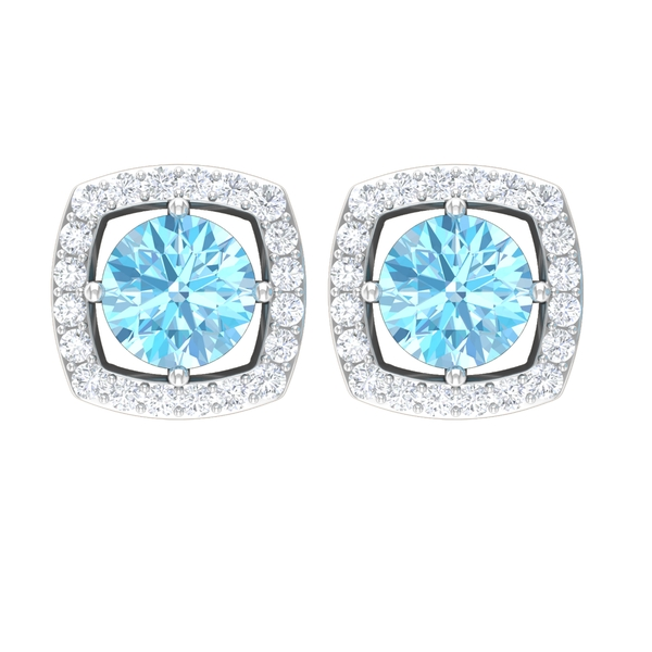 1.25 CT Classic Created Aquamarine Solitaire and Moissanite Halo Stud Earrings