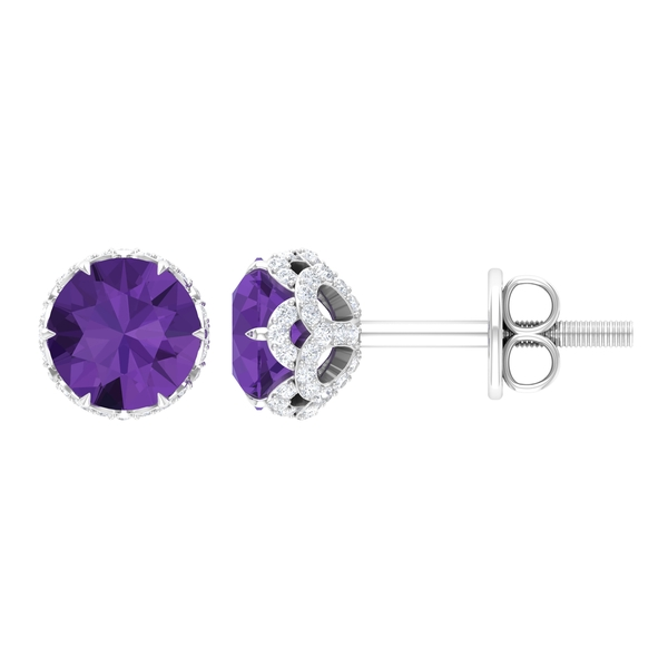 1.25 CT Claw Set Created Lavender Amethyst Solitaire and Moissanite Stud Earrings