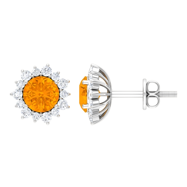 1.50 CT Created Orange Sapphire Solitaire Cocktail Sunburst Stud Earring with Diamond Accent