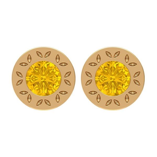 0.75 CT Round Cut Yellow Sapphire Solitaire Stud Earrings in Bezel Set with Engraved Gold