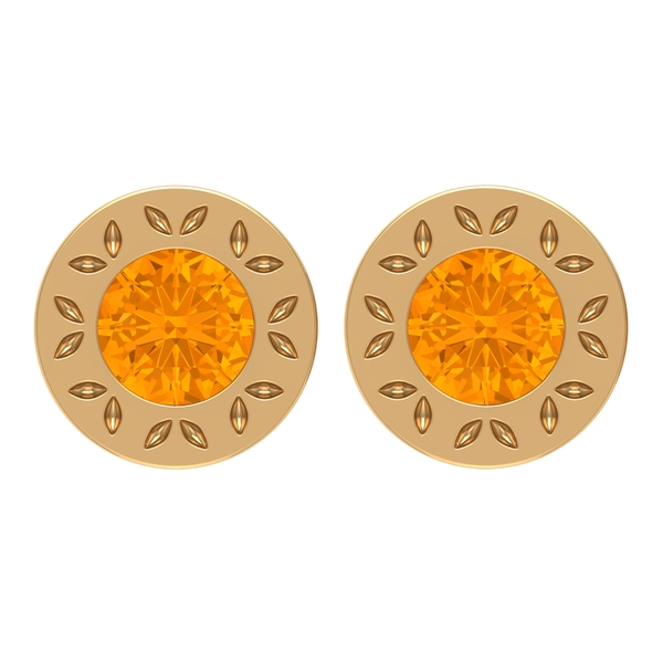 0.50 CT Bezel Set Created Orange Sapphire Solitaire Engraved Floral Stud Earrings for Women