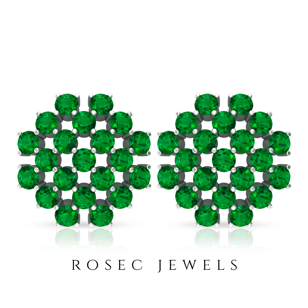 1.75 CT Floral Cluster Stud Earrings with Emerald