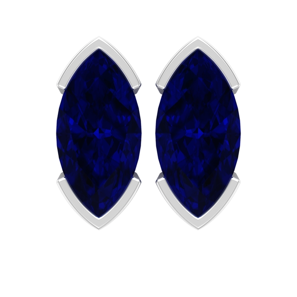 1.50 CT Marquise Cut Blue Sapphire Solitaire Stud Earrings For Women