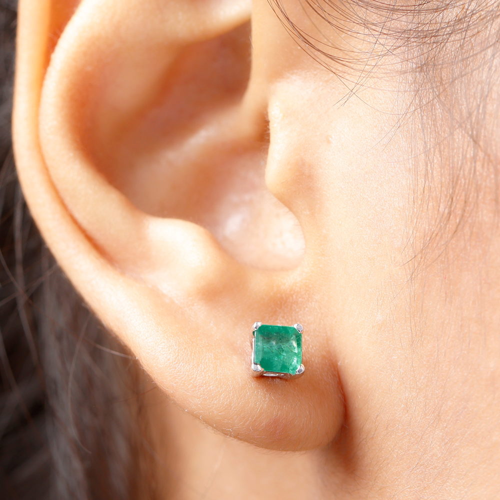 5 MM Princess Cut Emerald Solitaire Stud Earrings in 4 Prong Setting