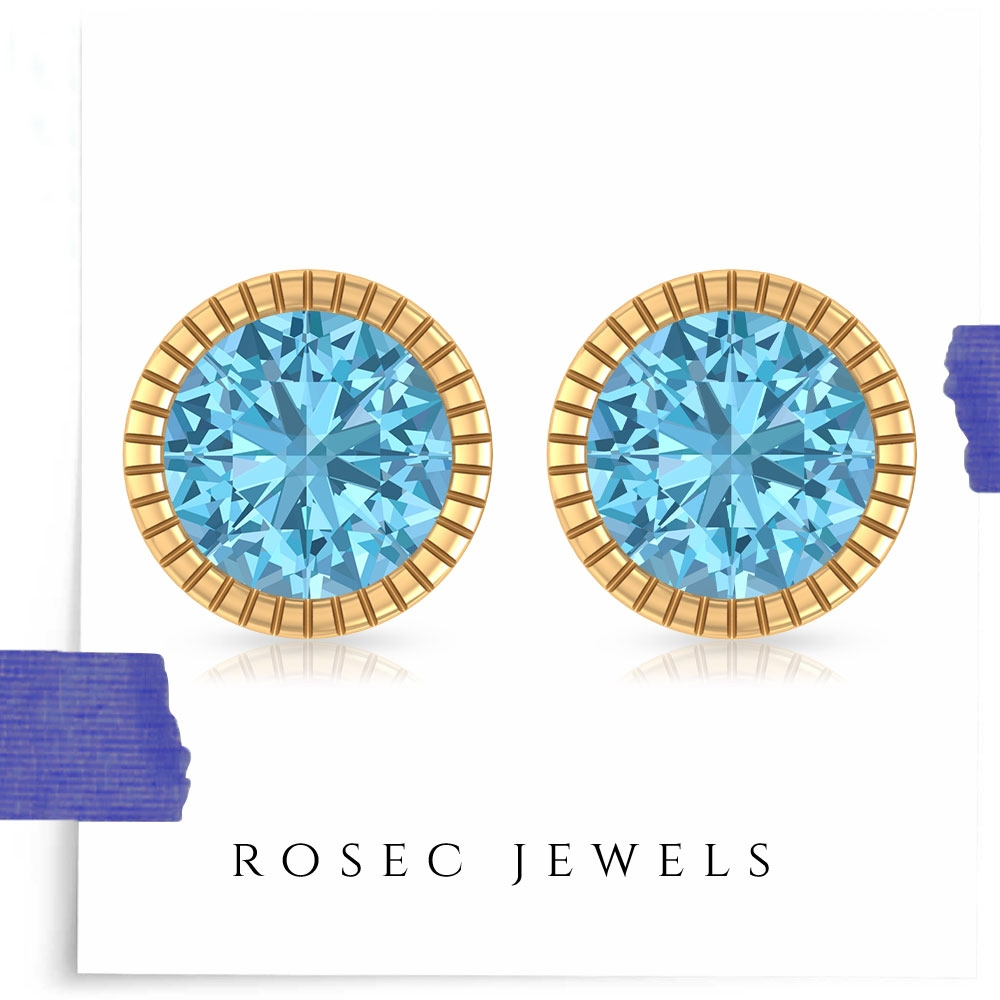 1 CT Gold Engraved Studs with Solitaire Aquamarine