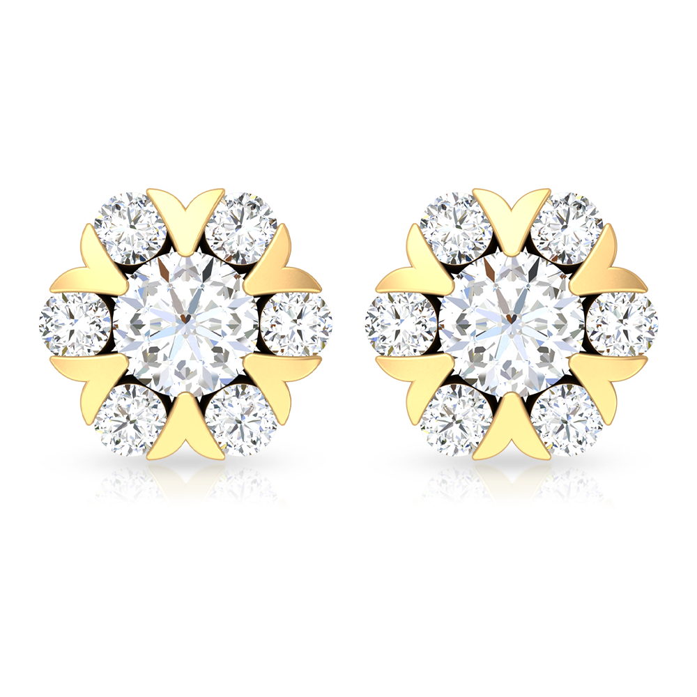 1/2 CT Diamond and Gold Antique Stud Earrings for Women