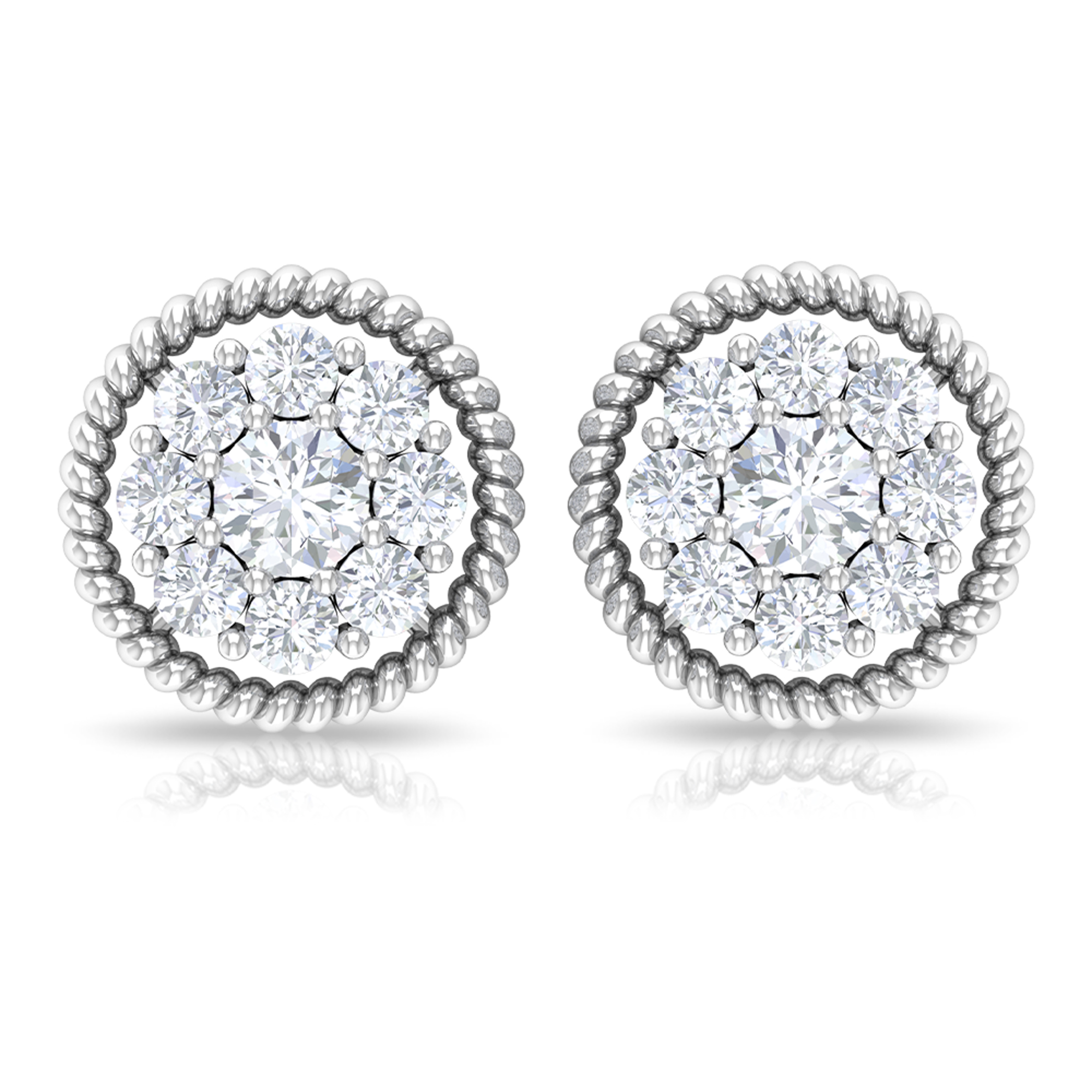 1/4 CT Diamond Cluster Stud Earrings with Gold Rope Frame