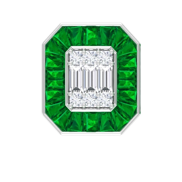 5.25 CT Antique Octagon Stud Earrings with Emerald and Diamond