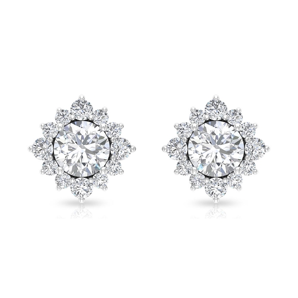 3/4 CT Solitaire Diamond Cluster Halo Earrings