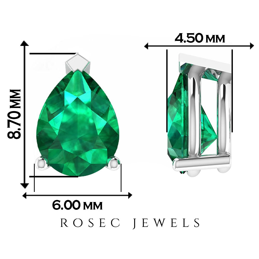 2 CT Pear Shape Emerald Solitaire Stud Earrings in Prong Setting