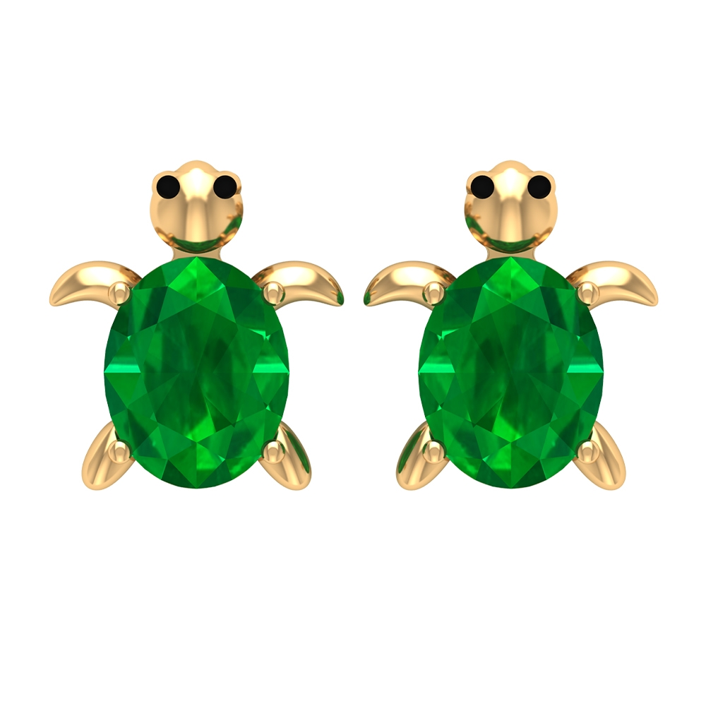 0.75 CT Oval Shaped Emerald Solitaire Turtle Stud Earrings