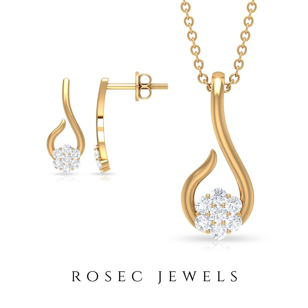 1/4 CT Dainty Diamond Floral Jewelry Set with Gold Fish Hook