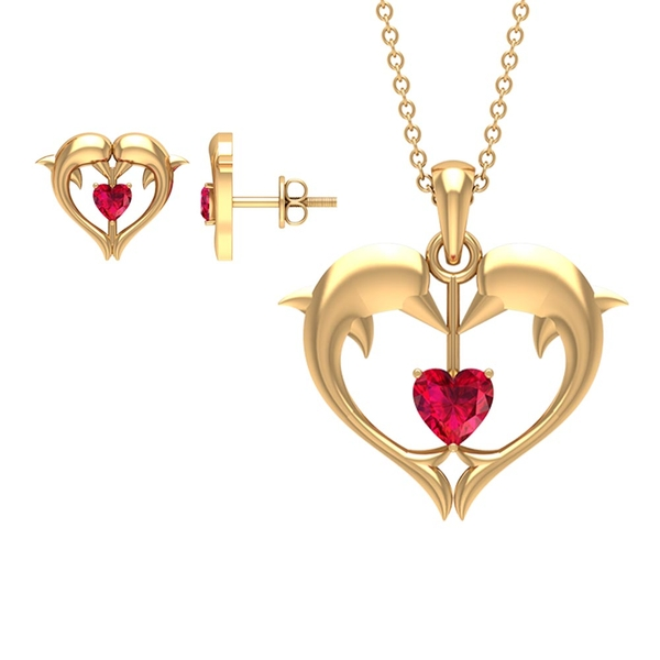 1.50 CT Heart Shape Ruby and Gold Dolphin Jewelry Set
