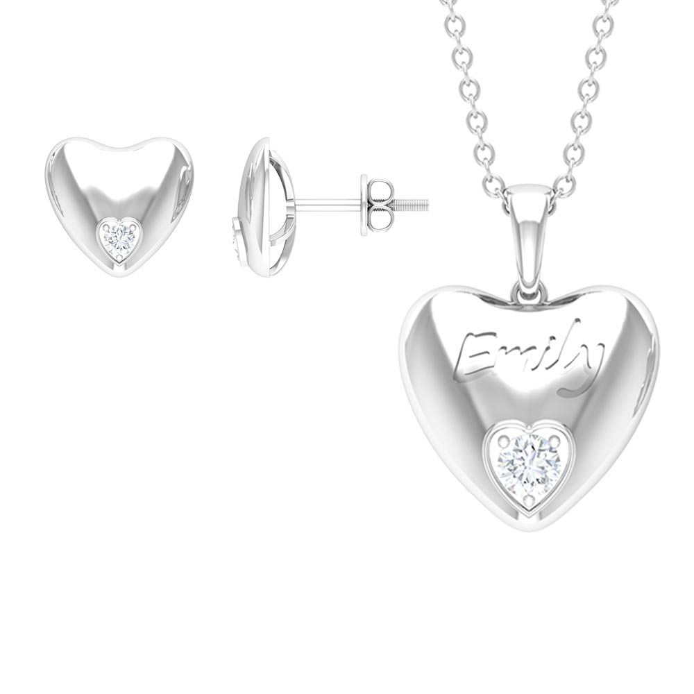 0.25 CT Diamond and Gold Engraved Heart Jewelry Set