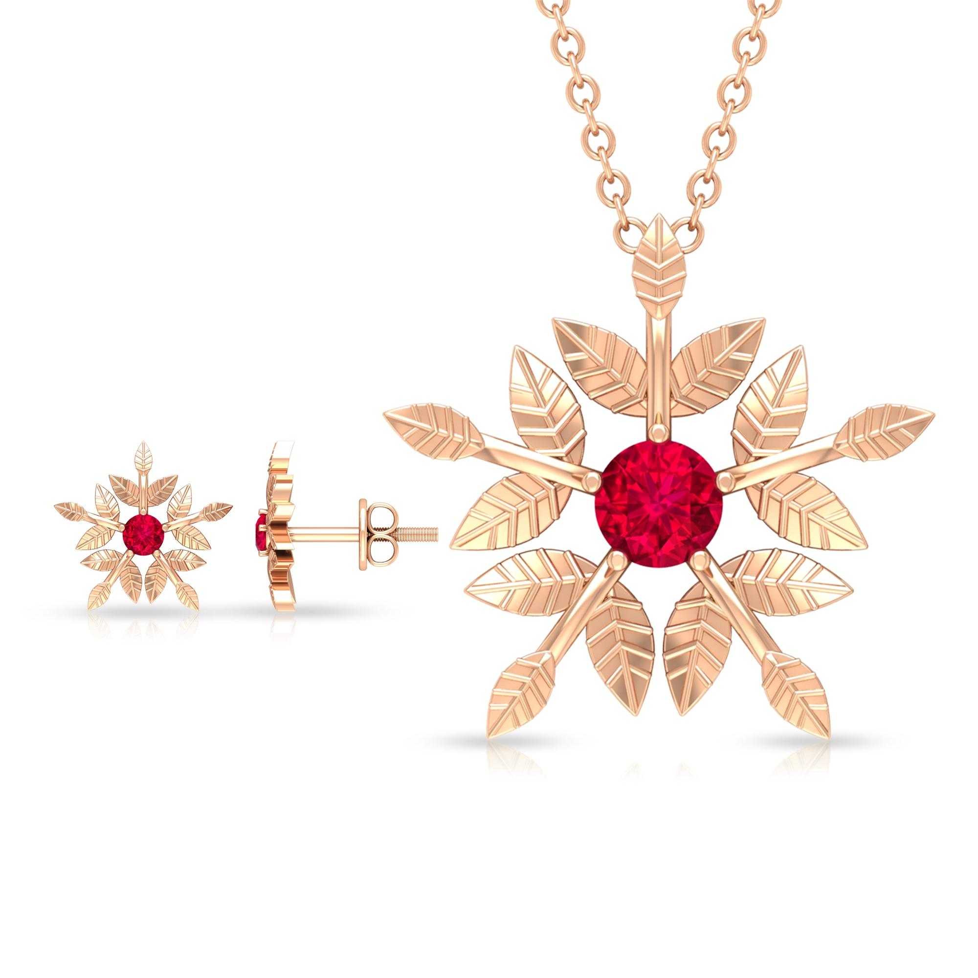 1/2 CT Engraved Gold Floral Ruby Necklace and Earrings Set