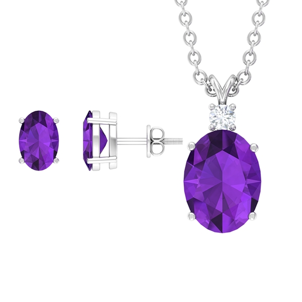 2.25 CT Oval Shape Amethyst Solitaire Jewelry Set with Diamond
