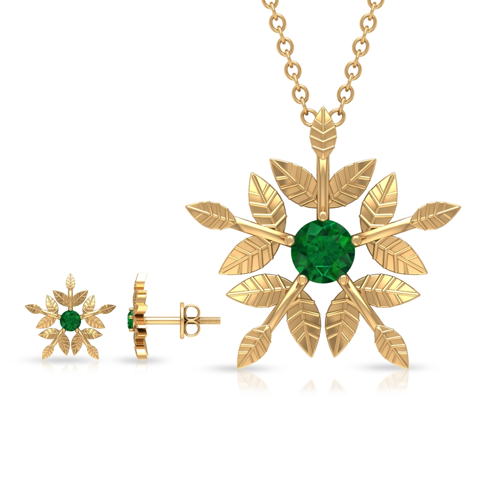 1/2 CT Round Cut Emerald and Gold Engraved Floral Jewelry Set