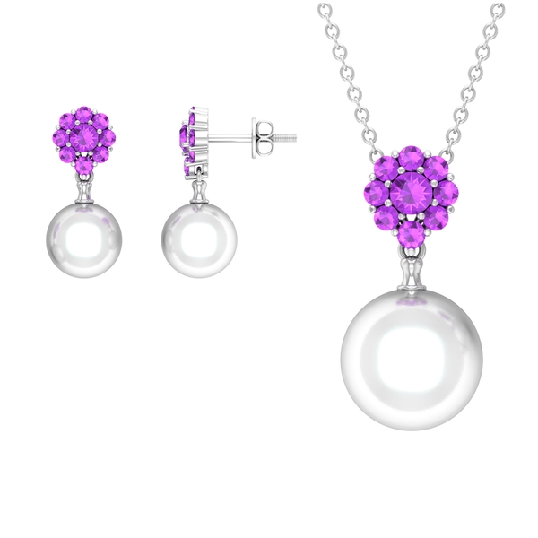 17 CT Floral Jewelry Set with Created Kunzite and Freshwater Pearl Drop