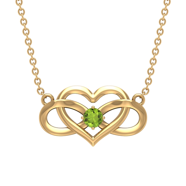 3 MM Heart Infinity Pendant Necklace with Peridot
