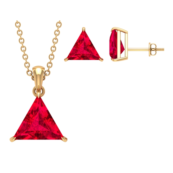13.50 CT Triangle Shape Solitaire Created Ruby  Jewelry Set