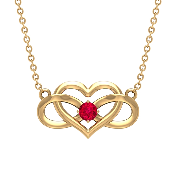 3 MM Heart Infinity Pendant Necklace with Ruby