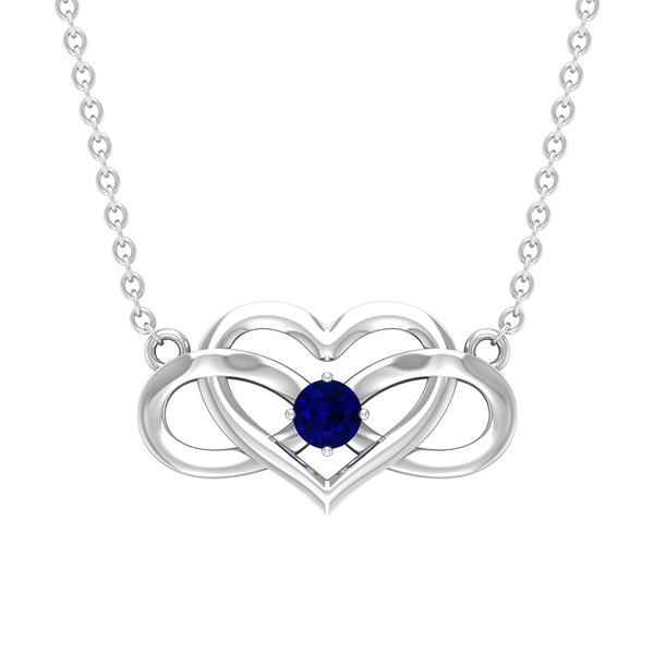 3 MM Heart Infinity Pendant Necklace with Blue Sapphire