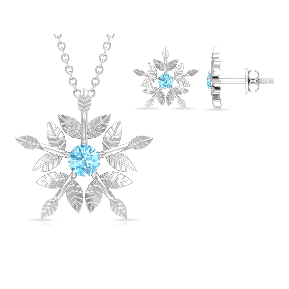 1/2 CT Engraved Gold Floral Aquamarine Necklace and Earrings Set (AAA Quality)