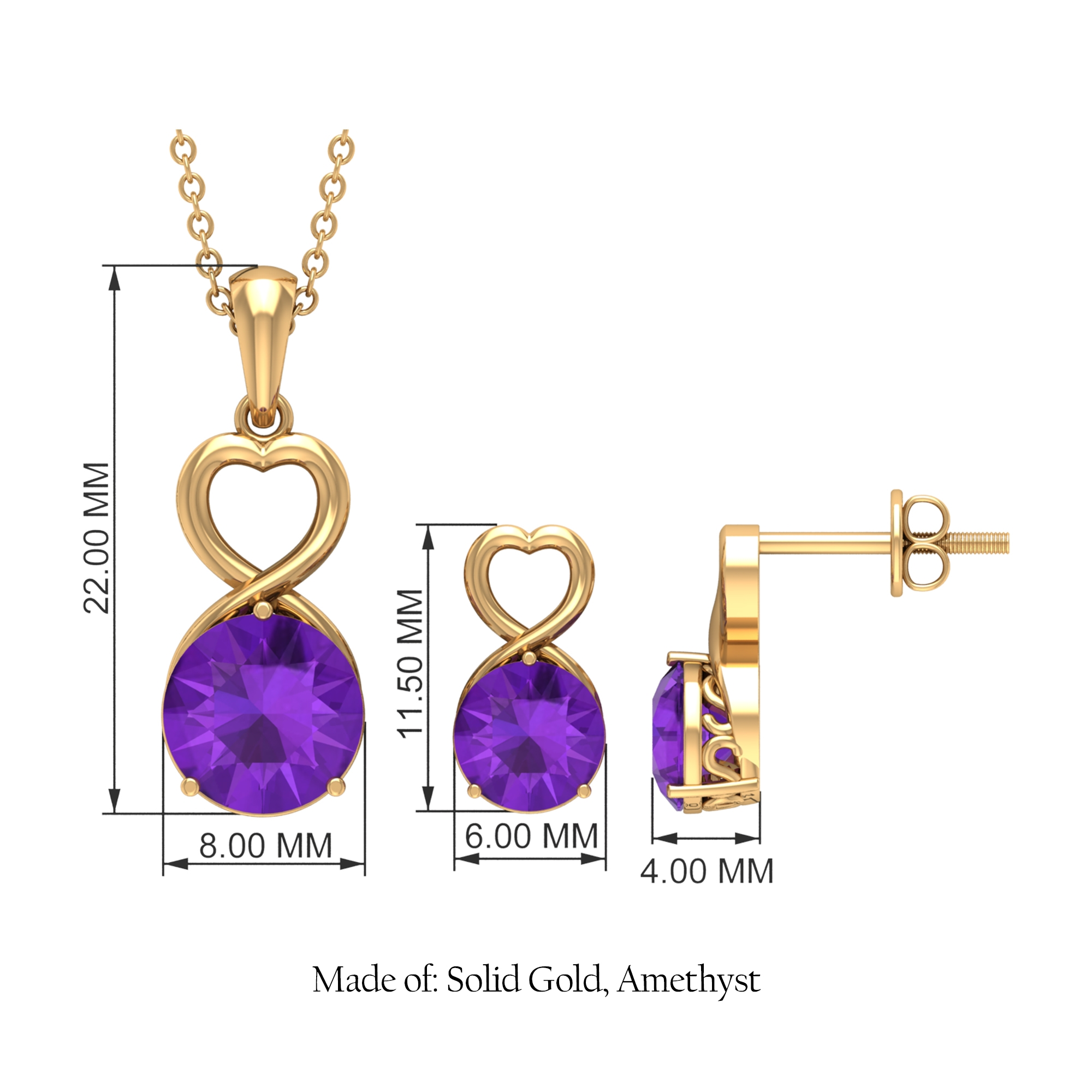 3.25 CT Amethyst Solitaire Gold Heart Shape Jewelry set