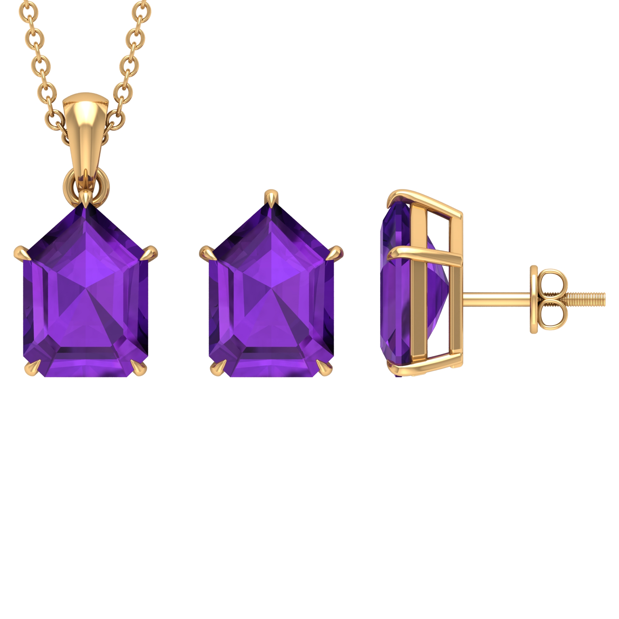 13.50 CT Amethyst Solitaire Gold Pentagon Shape Jewelry Set