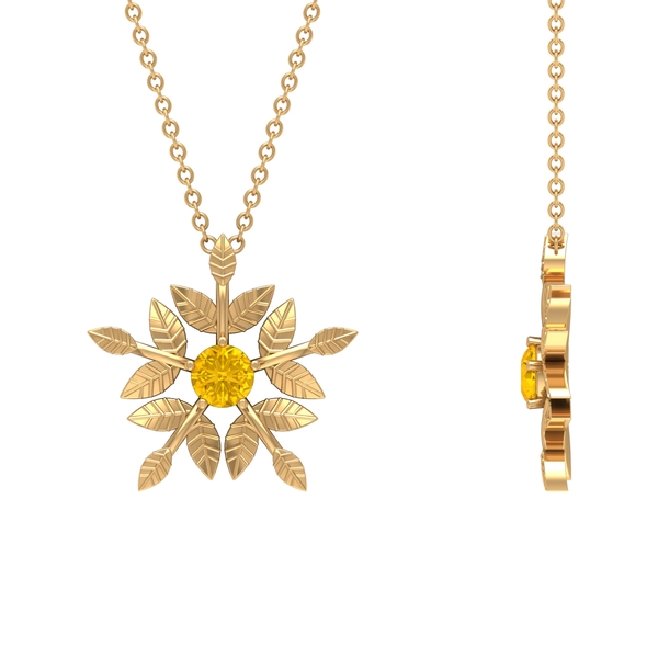 1/4 CT Created Yellow Sapphire Autumn Leaf Pendant Necklace