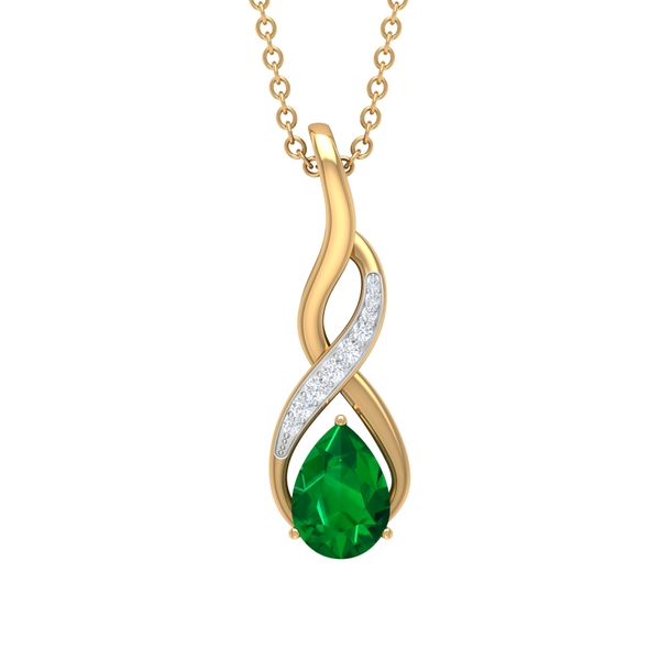 3/4 CT Created Emerald and Moissanite Infinity Pendant Necklace
