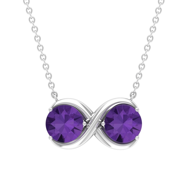 1.75 CT Created Lavender Amethyst Infinity Pendant Necklace