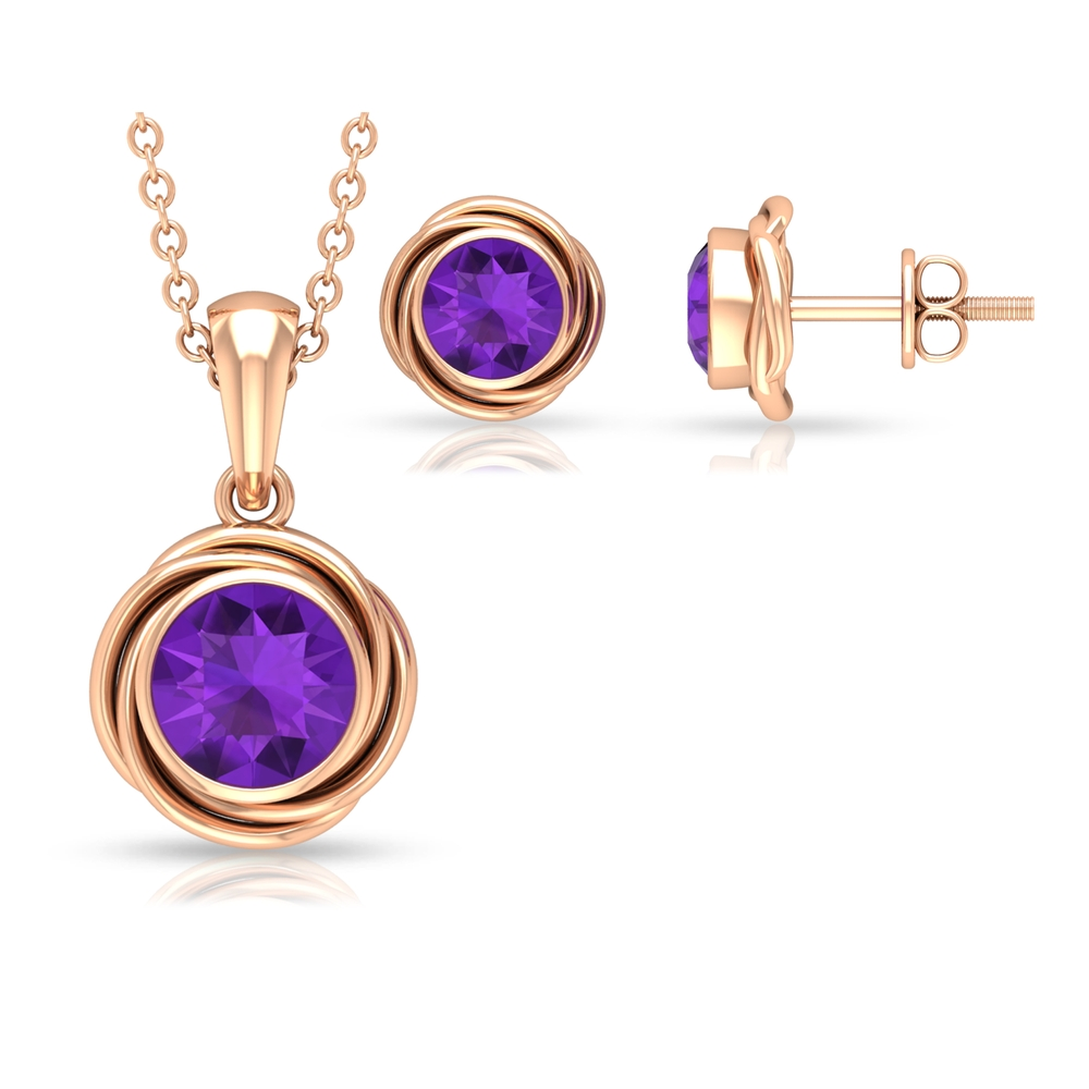 1.50 CT Solitaire Amethyst and Gold Swirl Jewelry Set