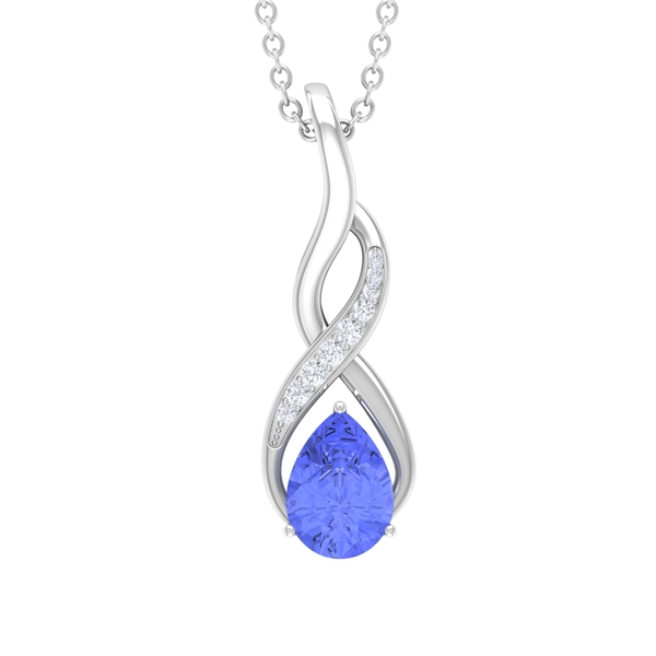 1 CT Created Tanzanite and Moissanite Infinity Pendant Necklace