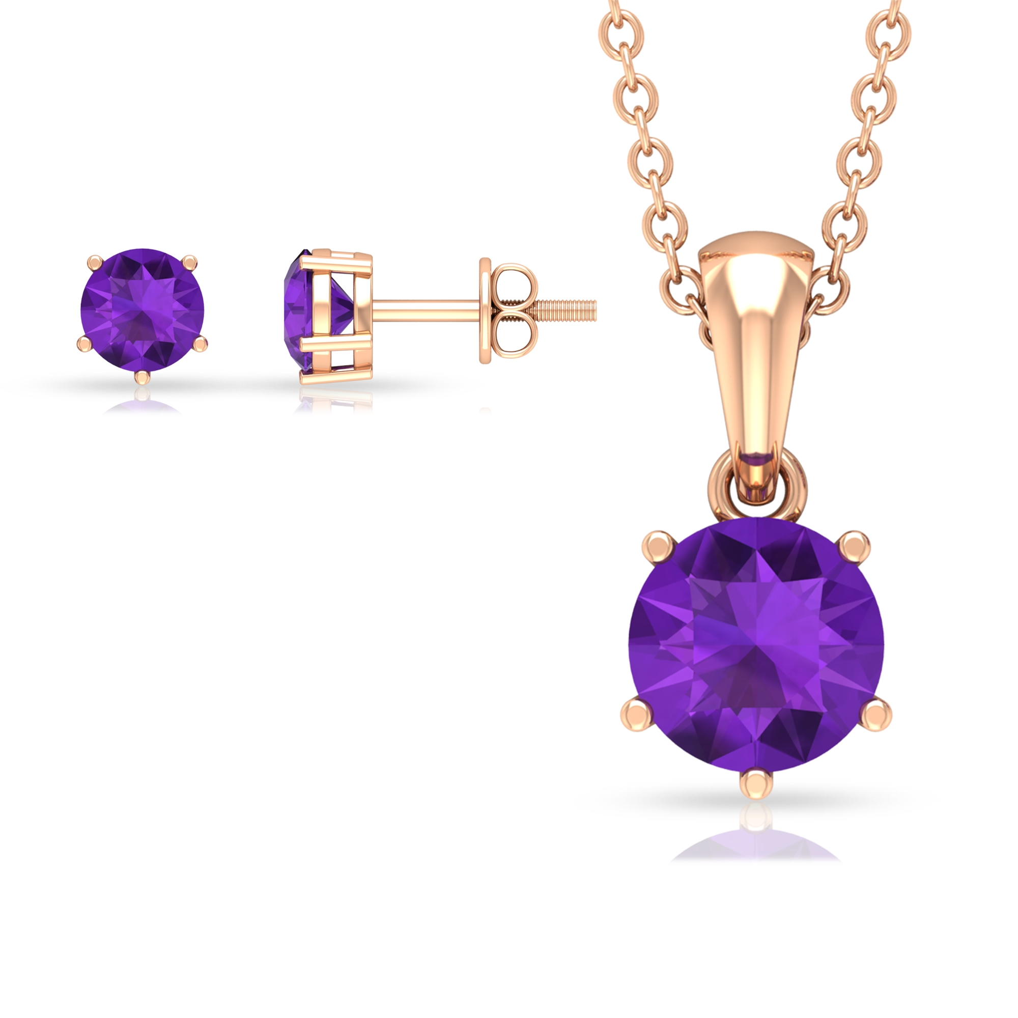 1.50 CT Round Cut Amethyst Solitaire Jewelry Set