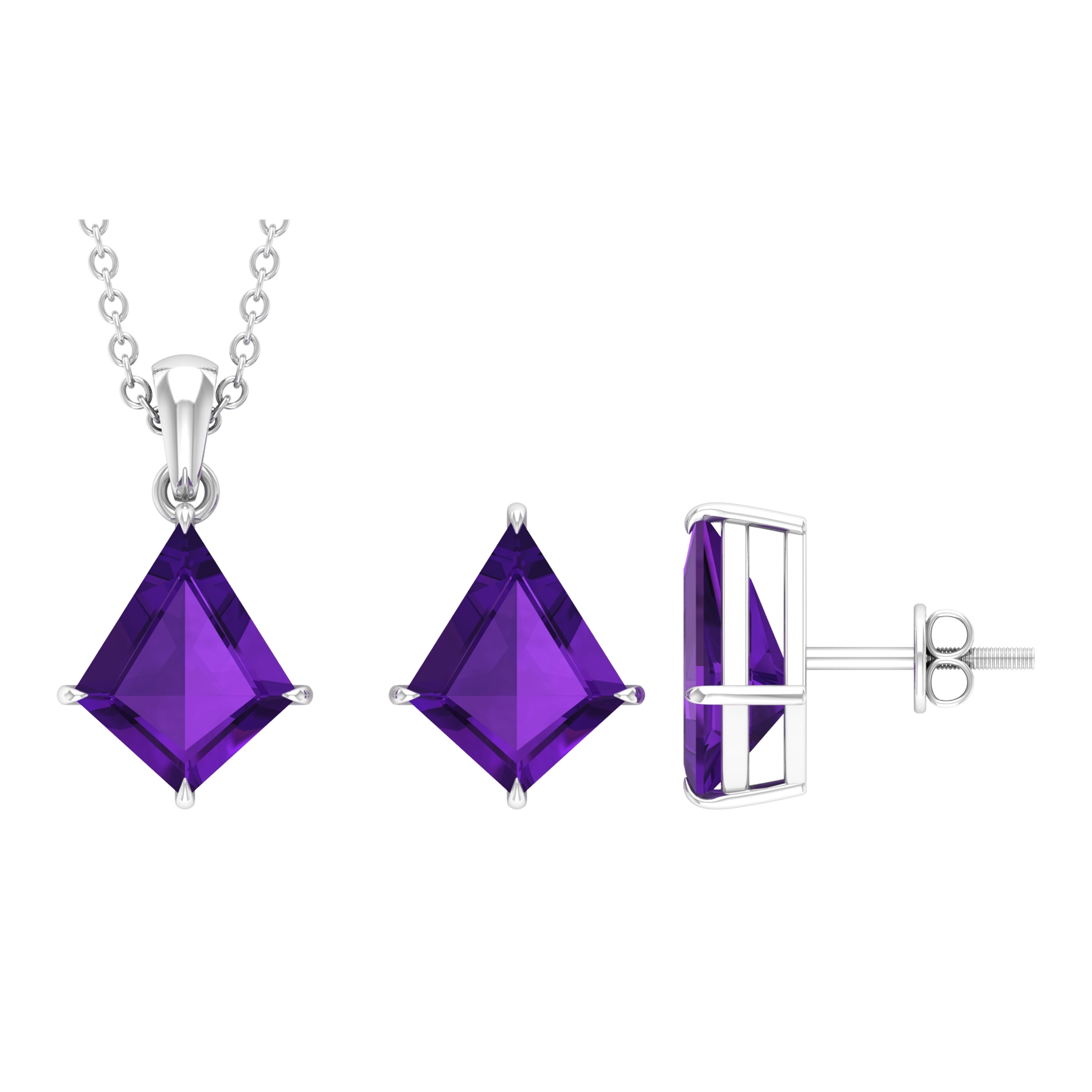 13.50 CT Amethyst Solitaire Gold Kite Shape Jewelry Set