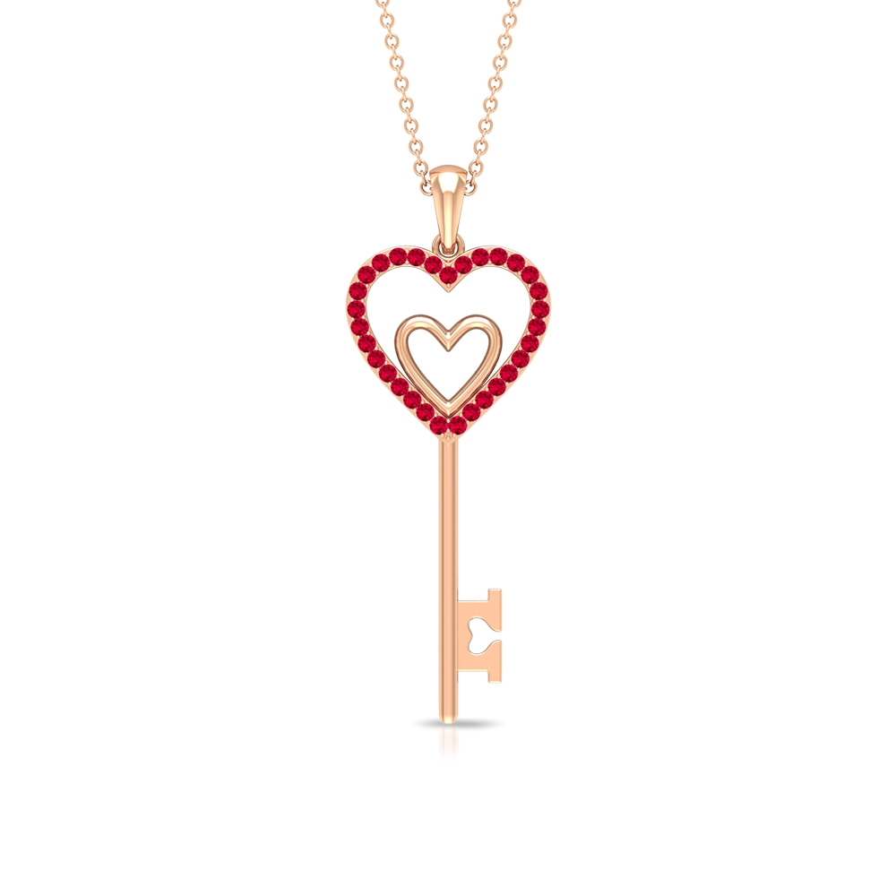 1/4 CT Ruby Twin Heart Key Pendant Necklace