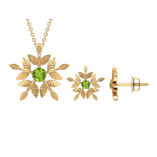 1/2 CT Engraved Gold Floral Peridot Necklace and Earrings Set