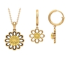 3 CT Citrine Solitaire and Gold Floral Jewelry Set