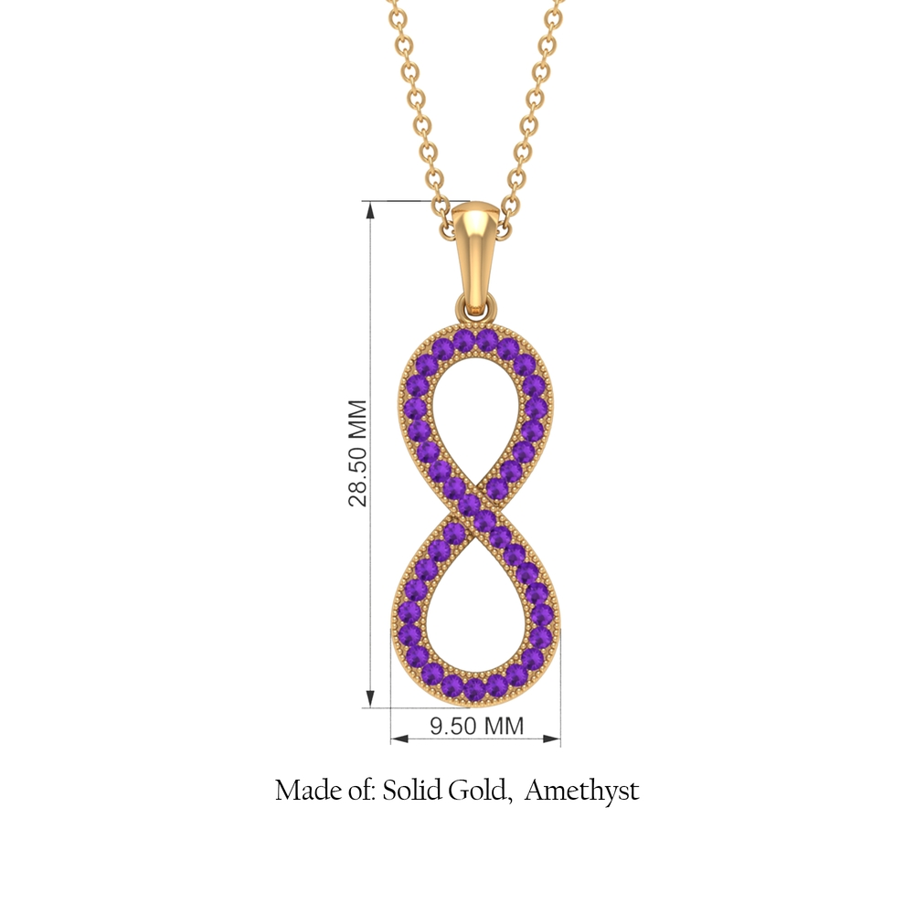 1/4 CT Pave Set Amethyst Infinity Pendant Necklace