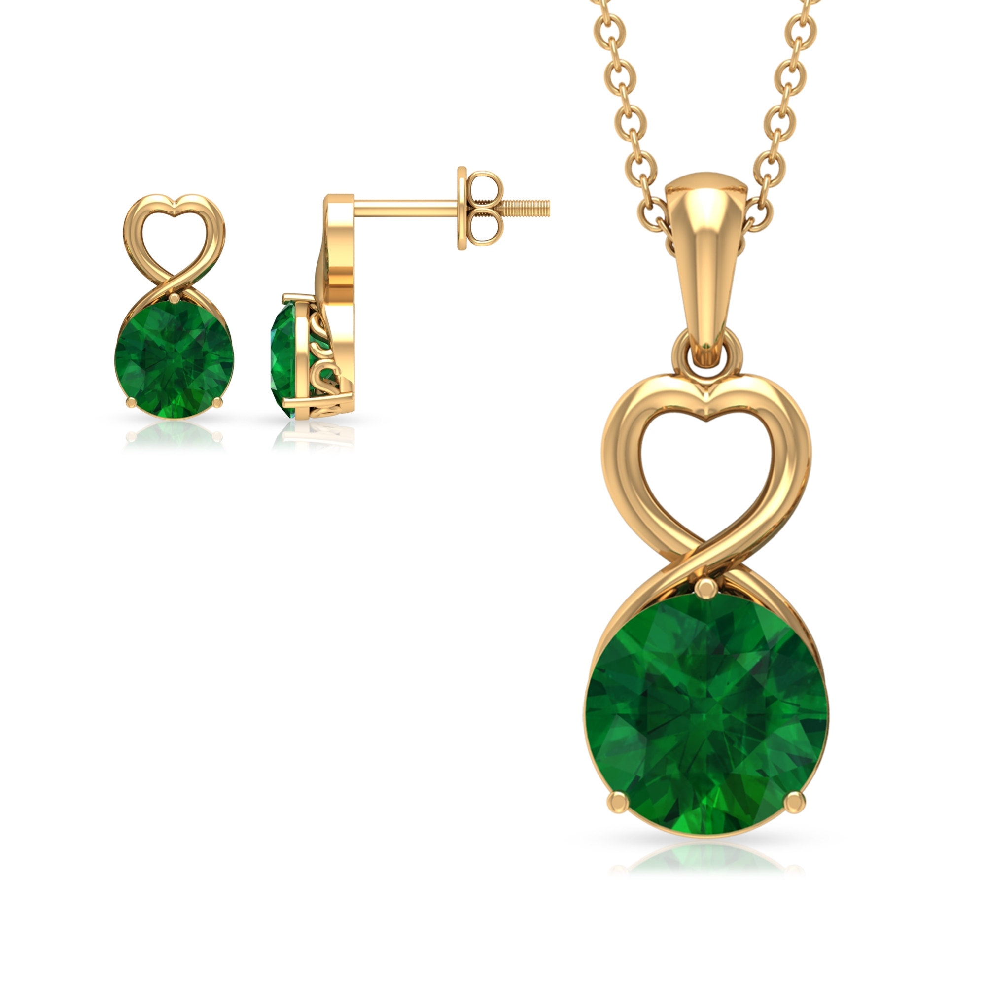 3.50 CT Emerald Solitaire Gold Heart Shape Jewelry set