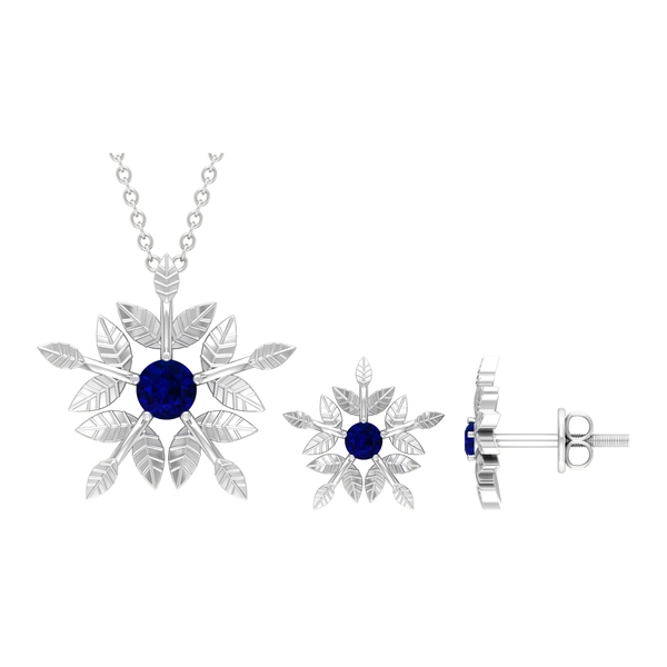 1/2 CT Engraved Gold Floral Blue Sapphire Necklace and Earrings Set