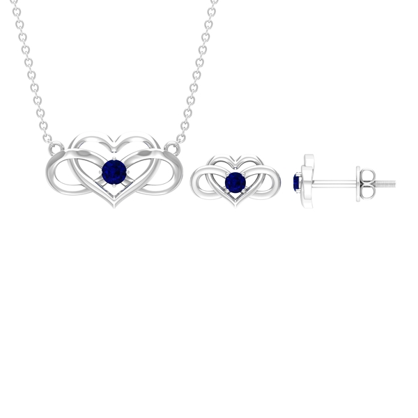 1/4 CT Blue Sapphire and Infinity Heart Jewelry Set