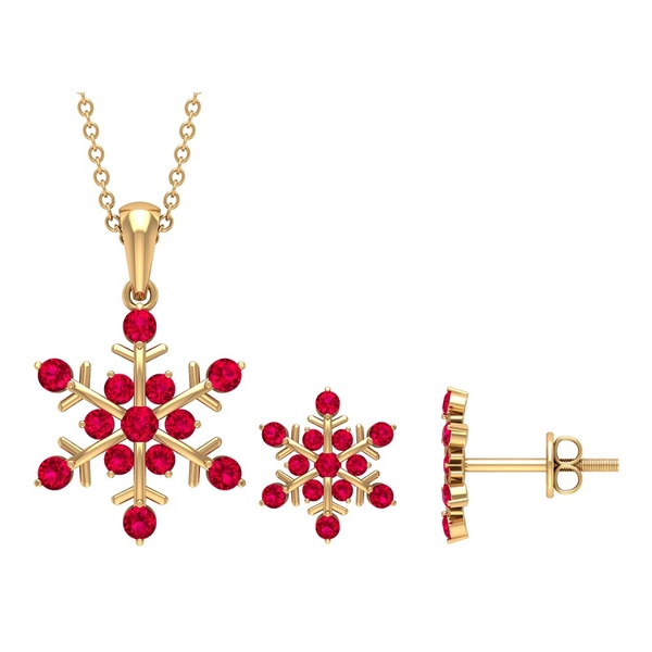 1 CT Contemporary Ruby Snowflake Jewelry Set